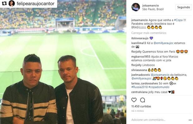 Jô Amâncio (dir) e o cantor Felipe Araújo (Foto: Reprodução/Instagram)