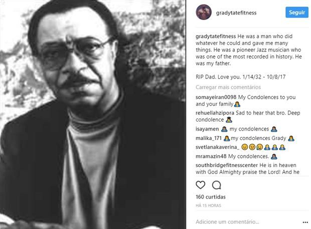 Grady Tate Jr., filho de Grady Tate, lamenta morte do pai (Foto: Reprodução/Instagram)