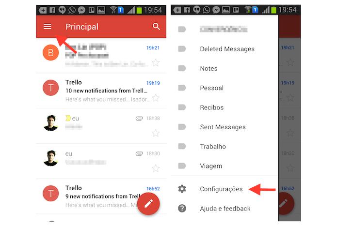 Acessando as configurações do aplicativo do Gmail no Android (Foto: Reprodução/Marvin Costa)