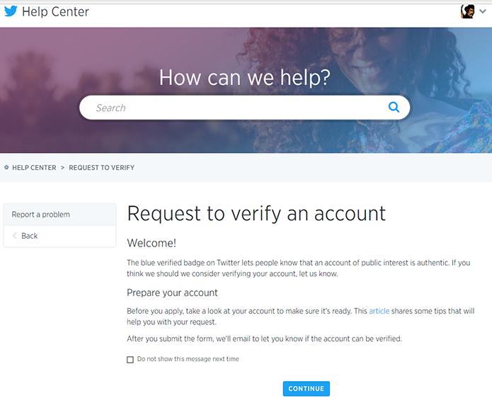 Formulário de solicitação da verificação é em inglês (Foto: Reprodução/Filipe Garrett)