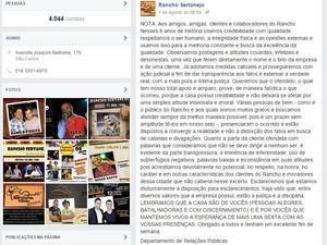 Casa postou esclarecimento em rede social (Foto: Rancho Sertanejo/ Divulgação)