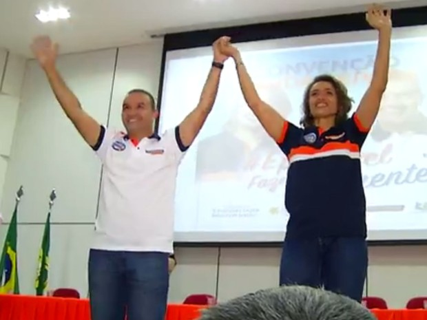 Kelps Lima e Magnólia Figueiredo formam chapa para concorrer em Natal (Foto: Reprodução/Inter TV Cabugi)