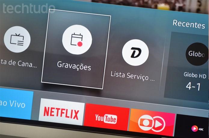 O sistema ainda tem recursos como gravação do que está no ar, ao vivo, na TV (Foto: Melissa Cruz / TechTudo)