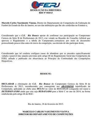 Rio Branco multado e rebaixado para a Série C. Imperial também recebeu o mesmo documento. (Foto: Reprodução)