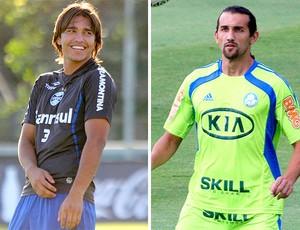 montagem Marcelo Moreno do Grêmio e Hernán Barcos do Palmeiras (Foto: Editoria de Arte / Globoesporte.com)