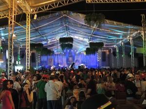 Biergarten ficou lotado na noite de sábado (5) (Foto: Fernanda Burigo/G1)