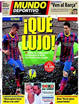 Capa Mundo Deportivo, com Neymar e Messi (Foto: Reprodução)