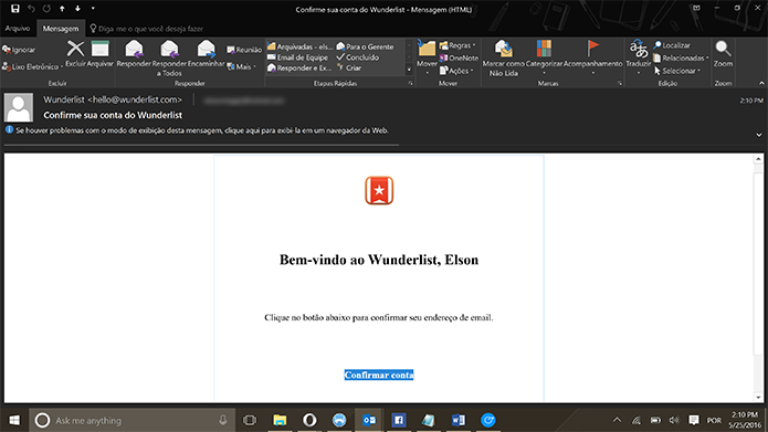 Usuário precisa confirmar email cadastrado no Wunderlist (Foto: Reprodução/Elson de Souza)