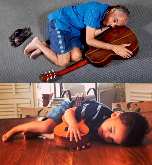 Gilberto Gil imitando o neto, Dom (Foto: Reprodução - Facebook)