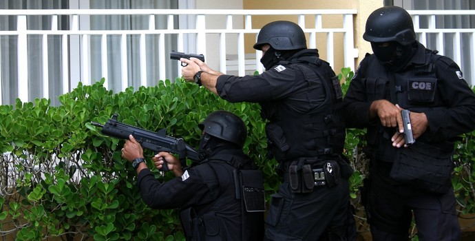 Simulação em hotel de Salvador para a Olimpíada (Foto: Jorge Cordeiro / Divulgação / SSP)