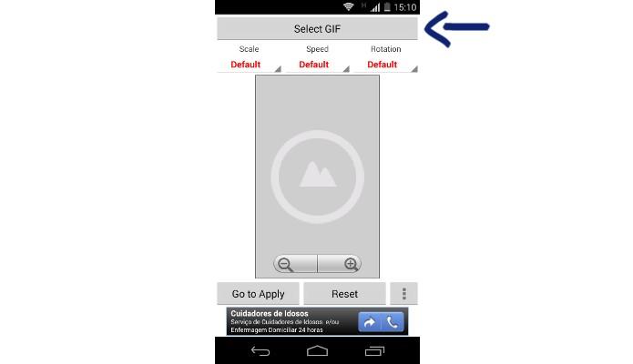 Destaque para botão Select GIF do Simple GIF Wallpaper (Foto: Reprodução/Raquel Freire)