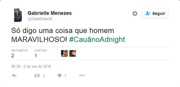 Internautas repercutem participação de Cãua Reymond no Adnight (Foto: Reprodução/Twitter)