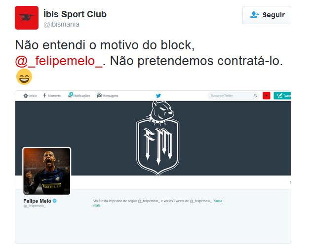 Íbis bloqueado por Felipe Melo no Twitter (Foto: Reprodução / Twitter)