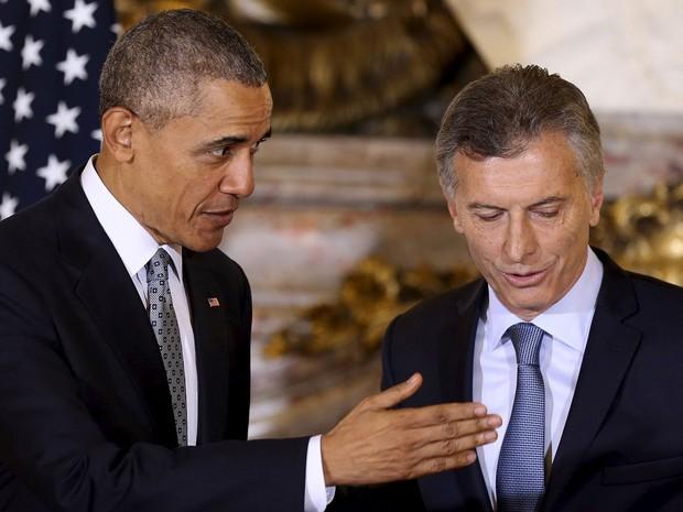 Presidente da Argentina, Mauricio Macri, e presidente dos Estados Unidos, Barack Obama, participaram de entrevista coletiva na Casa Rosada, em Buenos Aires, nesta quarta-feira (23) (Foto: David Fernandez/ Reuters)
