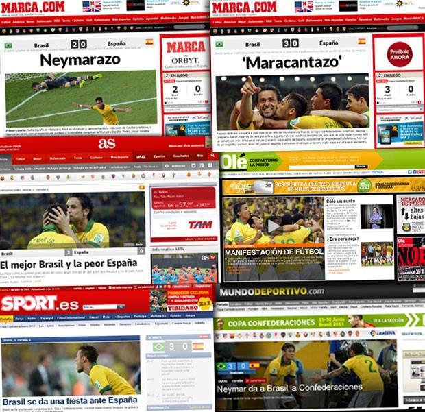 Jornais Gringos Repercussão Brasil x Espanha (Foto: Reprodução)