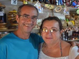 Turistas de São Paulo ficaram admirados com irreverência   (Foto: Tássio Andrade/G1)