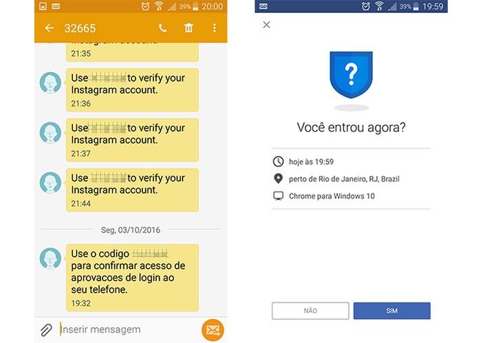 Código pode ser recebido via SMS ou com alerta de login no app pelo celular (Foto: Reprodução/Barbara Mannara)