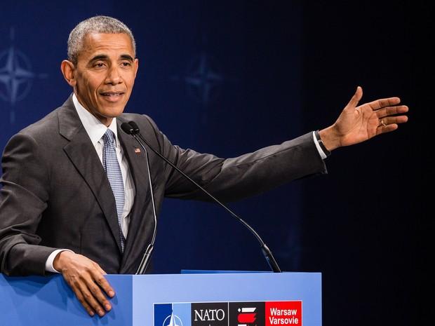 Barack Obama discursa na cúpula da Otan neste sábado (9) (Foto: WOJTEK RADWANSKI/AFP)
