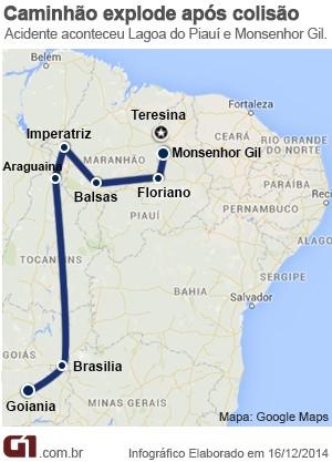 Mapa percurso do ônibus envolvido em acidente na BR-316 (Foto: G1 Piauí)