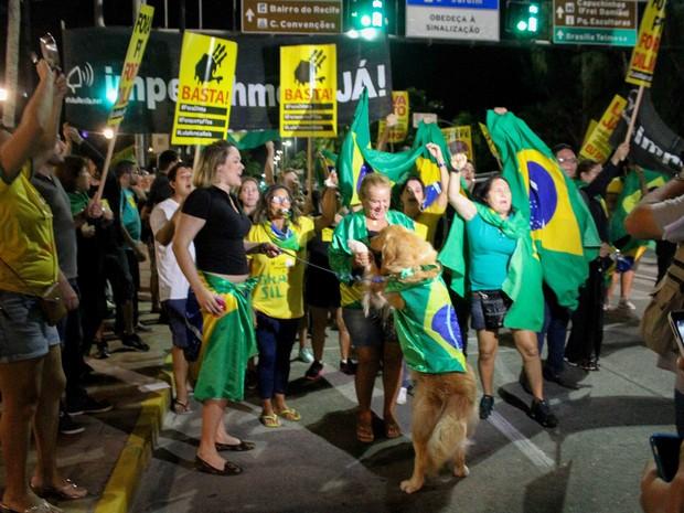 Ato reúne manifestantes contra o governo do PT na Zona Sul do Recife, nesta quinta-feira (17) (Foto: Marlon Costa/Pernambuco Press)
