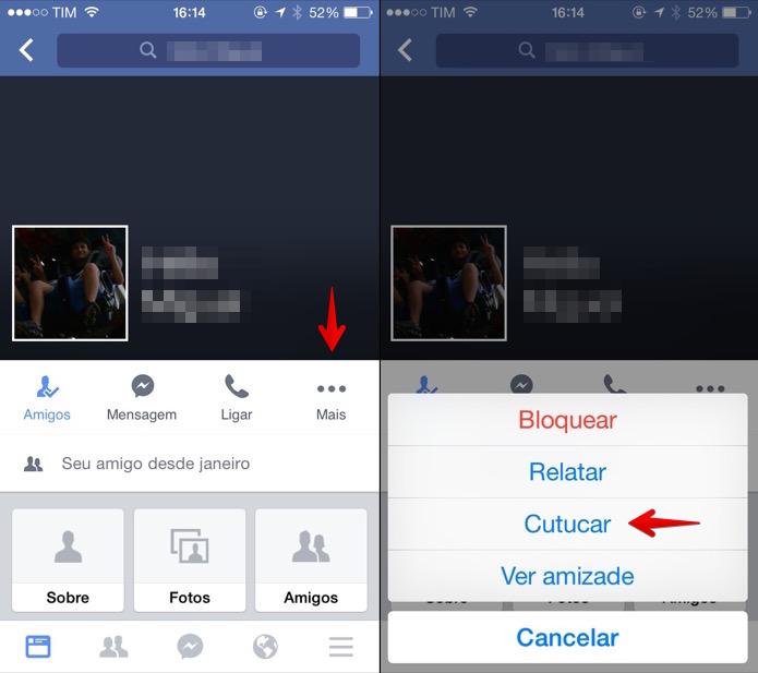 Cutucando amigo pelo aplicativo para iOS (Foto: Reprodução/Helito Bijora)