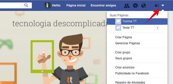 Acesse a sua página do Facebook (Foto: Reprodução/Helito Bijora)