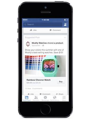 Facebook testa botão 'comprar' em anúncios para usuários arrematarem produtos sem sair da rede social. (Foto: Divulgação/Facebook)