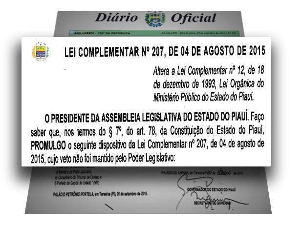 Lei que restringe poder de investigação do MPE Piauí (Foto: Diario Oficial do Piauí)