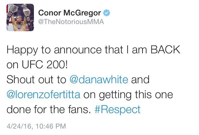 BLOG: Conor McGregor diz no Twitter que está de volta ao UFC 200