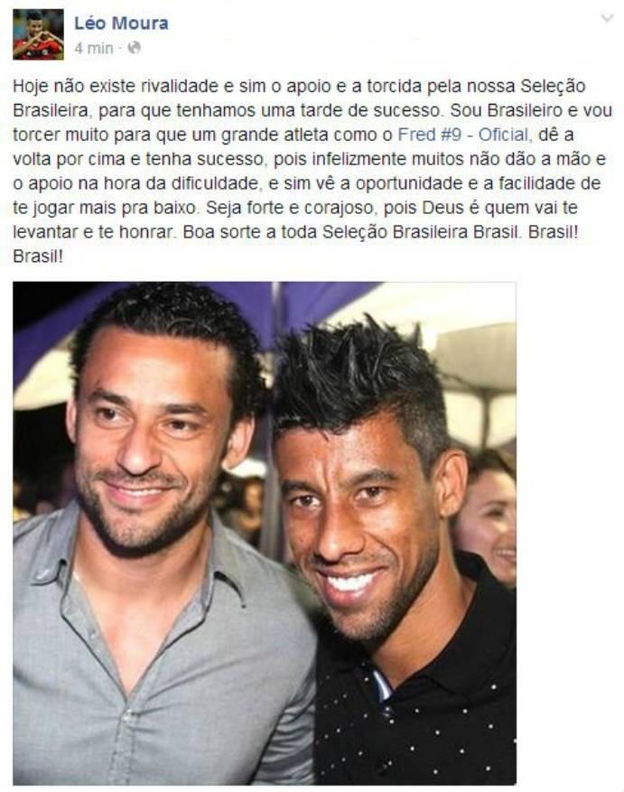 Léo Moura posta mensagem de apoio a Fred