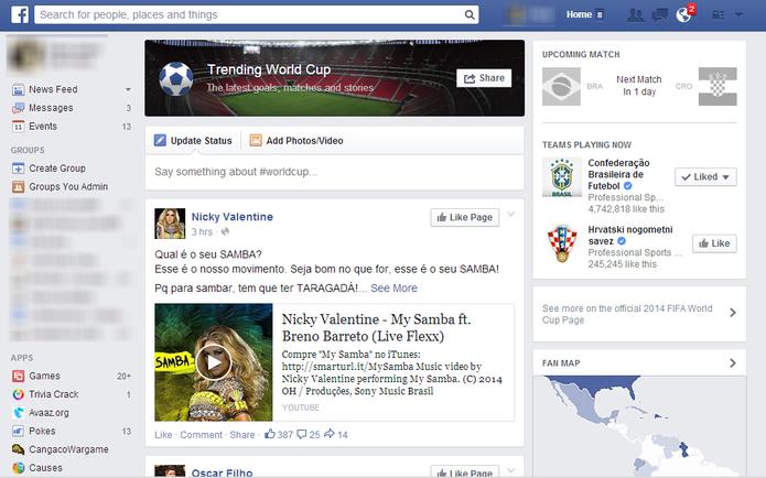 Facebook também criou página dedicada à Copa do Mundo para agrupar informações sobre torneio (Foto: Reprodução/Elson de Souza)