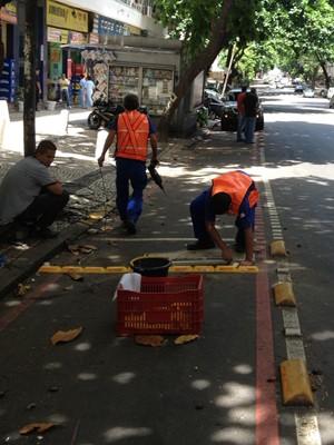 Moradora diz ainda que carros usam ciclovia de Copacabana como estacionamento (Foto: Alice Ruberti Schmal/VC no G1)