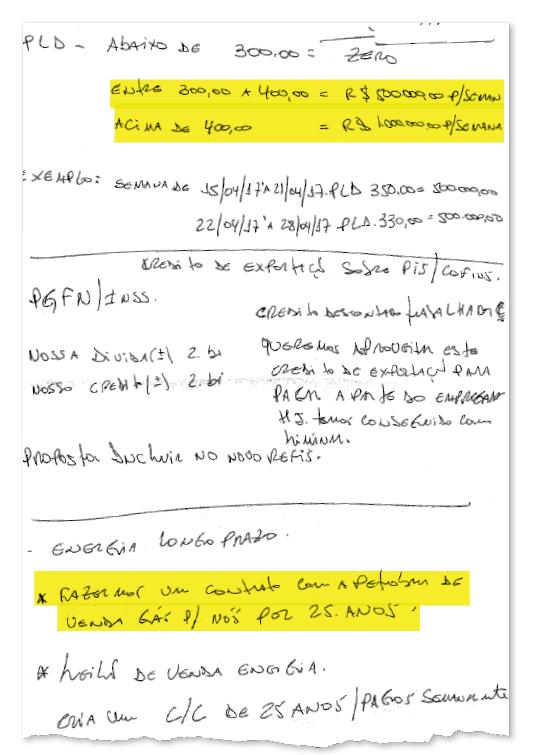 Anotação de Ricardo Saud, lobista da JBS, com as propinas para Rodrigo Rocha Loures (Foto: Reprodução )