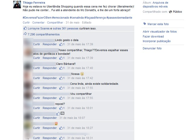 Imagem registrada em Uberlândia foi compartilhada por quase oito mil internautas  (Foto: Reprodução/Facebook)