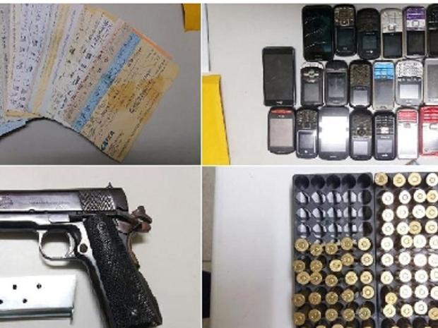 Agentes de segurança também apreenderam uma pistola calibre ponto 45, 25 folhas de cheques preenchidas com valores variados e 33 documentos de veículos, além de 24 celulares. (Foto: SSPDS/Divulgação)