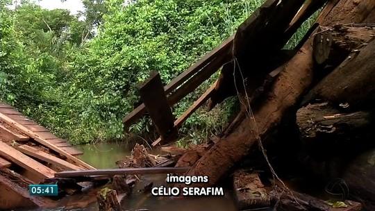 Ponte cai e deixa moradores isolados em zona rural de cidade de MT