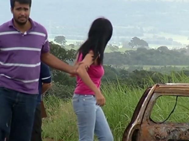 Mulher foi presa suspeita de matar o marido e esconder o corpo Goiás, Jataí (Foto: Reprodução/ TV Anhanguera)