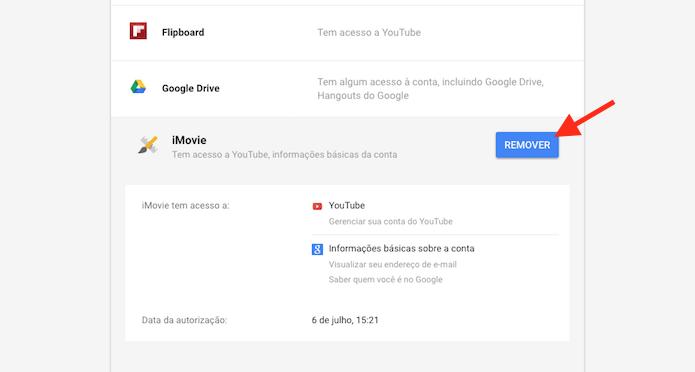 Removendo um aplicativo conectado a uma conta do Google (Foto: Reprodução/Marvin Costa)
