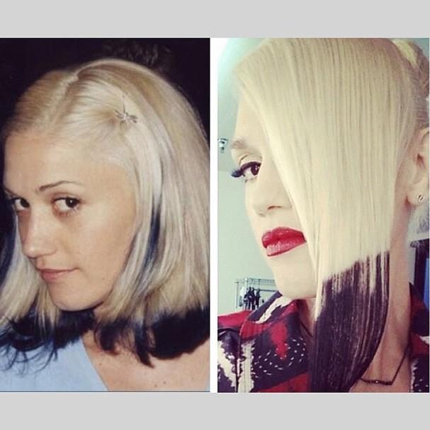 Gwen Stefani pinta as pontas do cabelo de preto e relembra visual antigo