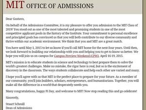Resposta do MIT aprovando a admissão de Gustavo Torres da Silva (Foto: Reprodução/MIT)