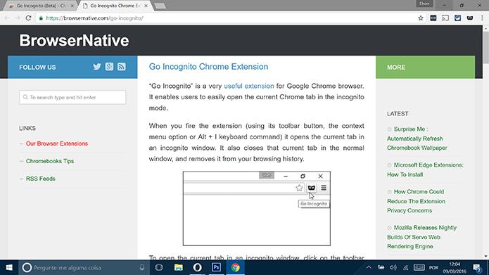 Go Incognito abrirá uma página o fim da instalação no Google Chrome (Foto: Reprodução/Elson de Souza)