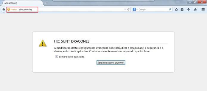 Digite about:config na barra de endereços do Firefox (Foto: Reprodução/Mozilla Firefox)
