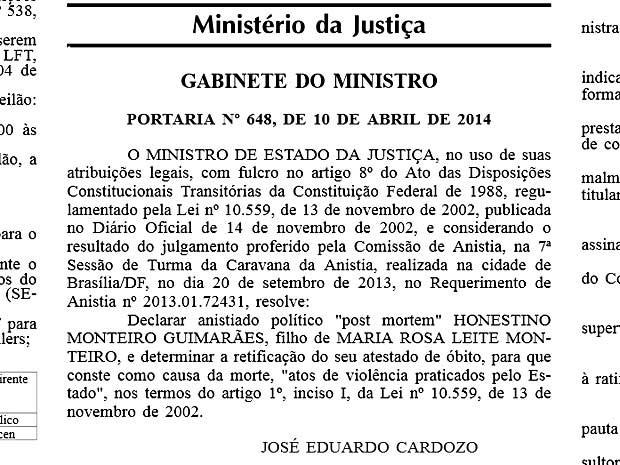 Reprodução da portaria concedendo anistia a Honestino Guimarães (Foto: Reprodução)