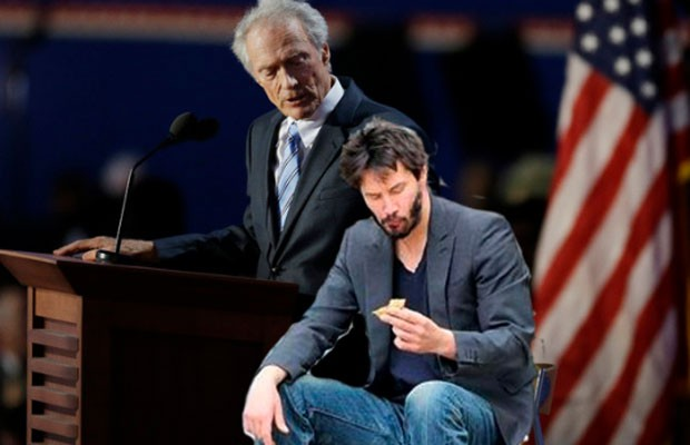 Em uma das montagens, o ator Keanu Reeves est&#225; sentado na cadeira (Foto: Reprodu&#231;&#227;o)