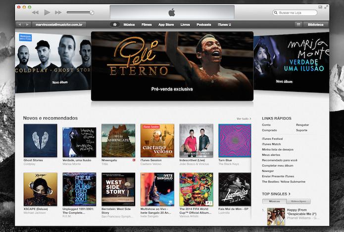 O iTunes permite comprar músicas e organizar toda sua biblioteca antes de sincronizá-la com um dispositivo iOS (Foto: Reprodução/Marvin Costa)