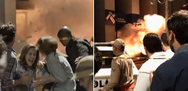Palhares explode a bomba para espantar a polícia (Foto: Malhação / TV Globo)