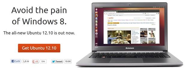 Lançamento do Ubuntu tem provocação para a Microsoft: 'Evite e dor do Windows 8' (Foto: Reprodução)