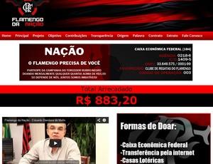 Frame Site Flamengo Arrecadação (Foto: Reprodução)