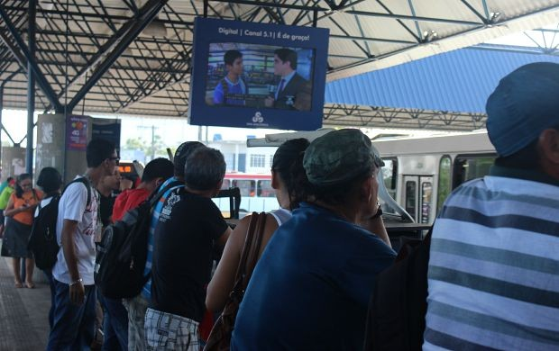 Rede Amazônica instala monitores no T3, em Manaus (Foto: Gisa Almeida/ Rede Amazônica)