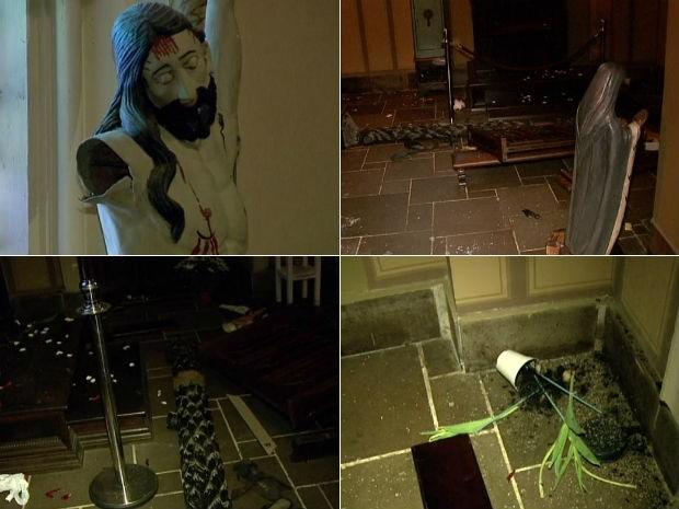 Imagem de Jesus Cristo e objetos da igreja foram danificados (Foto: Reprodução/RPC TV)